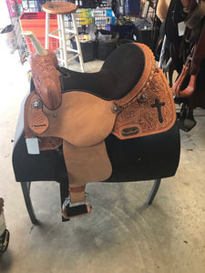 "American Antique Cross Barrel Saddle 14"" Seat - [product_type} - Hamps Saddle & Tack"