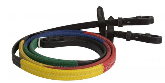 Showman Rainbow Reins - [product_type} - Hamps Saddle & Tack