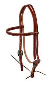 Berlin Leather Browband Headstall With Ties E1610 - [product_type} - Hamps Saddle & Tack