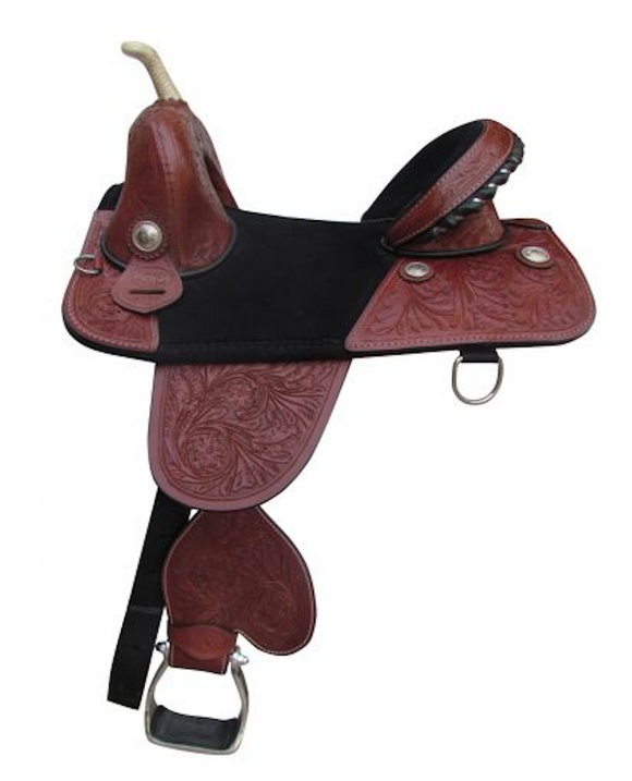 Double T 16 Inch Treeless Saddle With Floral Tool And Silver Conchos - [product_type} - Hamps Saddle & Tack