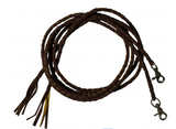 Leather braided split reins with scissor snap ends. 6.5 ft long