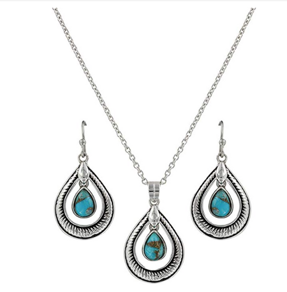 Montana Silversmiths Hitched Turquoise Teardrop Jewelry Set - [product_type} - Hamps Saddle & Tack