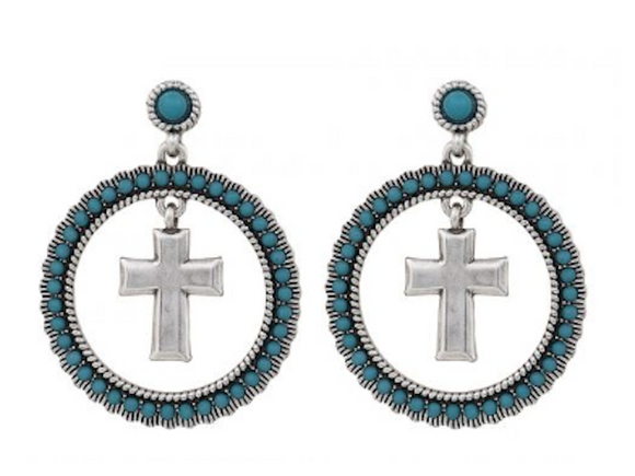 Rock 47? Round Turquoise Cross Earrings Montana Silver - [product_type} - Hamps Saddle & Tack