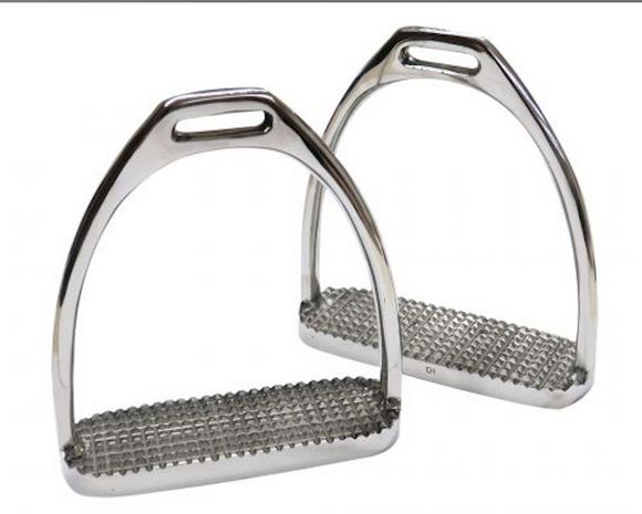 English Stirrup Irons with Metal Grip Tread