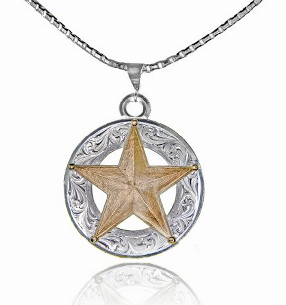 Montana Silversmiths Silver and Gold Circular Necklace with a Gold Star - [product_type} - Hamps Saddle & Tack