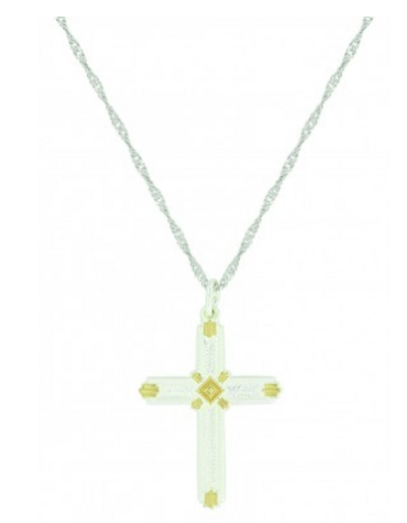 Montana Silversmiths Two Tone Roped Cross Necklace. - [product_type} - Hamps Saddle & Tack