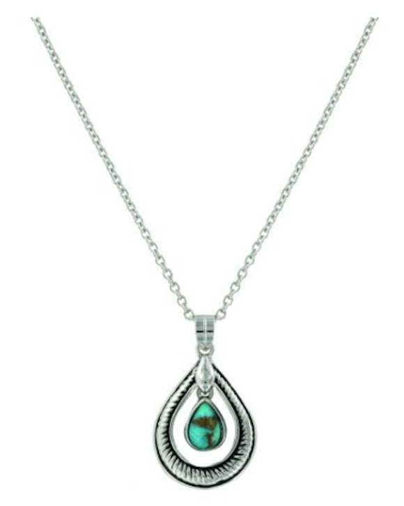 Montana Silversmiths Hitched Turquoise Teardrop Necklace - [product_type} - Hamps Saddle & Tack