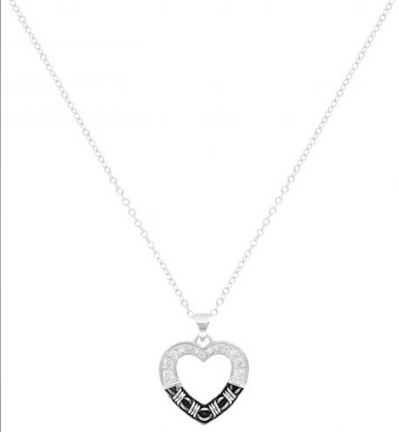 Montana Silversmiths Dazzling Barbed Wire Heart Necklace.