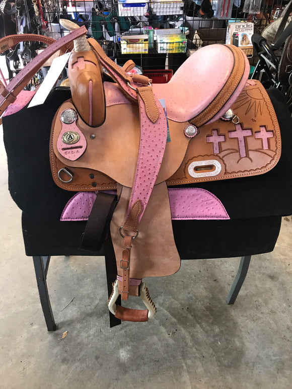 American Saddlery Circle A The Cross Racer Barrel Racing Saddle 845C Pink Package 14 inch - [product_type} - Hamps Saddle & Tack