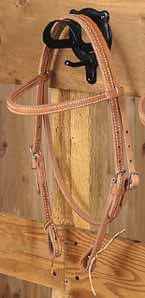 Brow Band Headstall with Tie End - [product_type} - Hamps Saddle & Tack