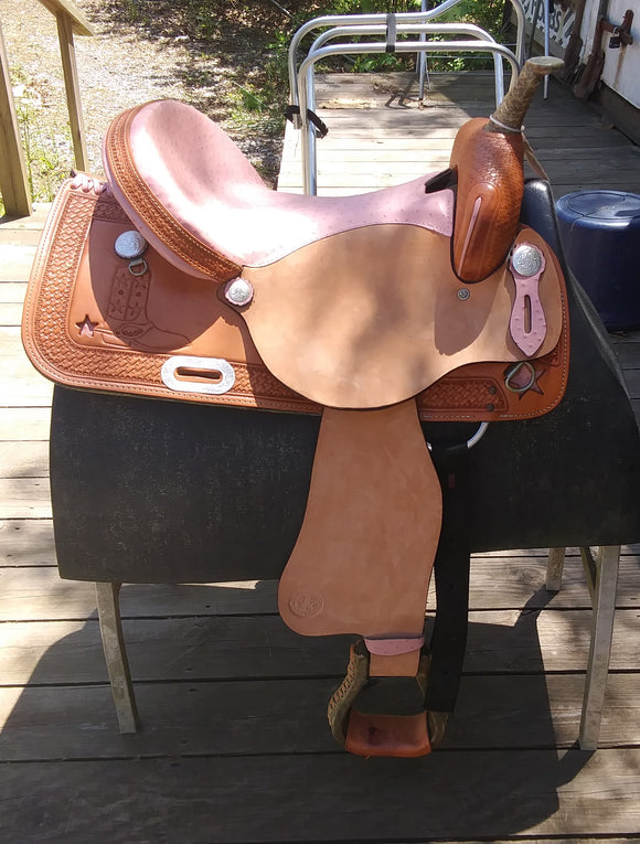 American 859 Pink Ostrich with boot and star 16 inch seat - [product_type} - Hamps Saddle & Tack