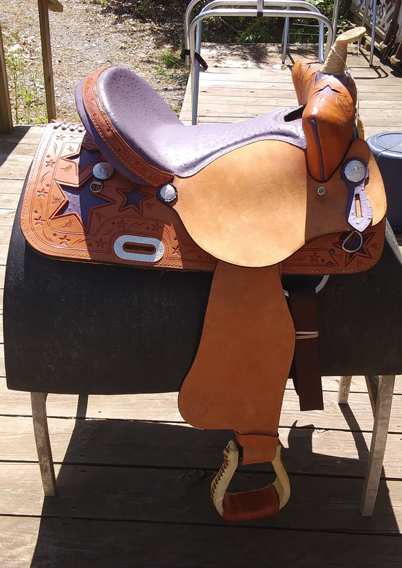 American  845 Bear trap Purple Stars 15 inch seat - [product_type} - Hamps Saddle & Tack