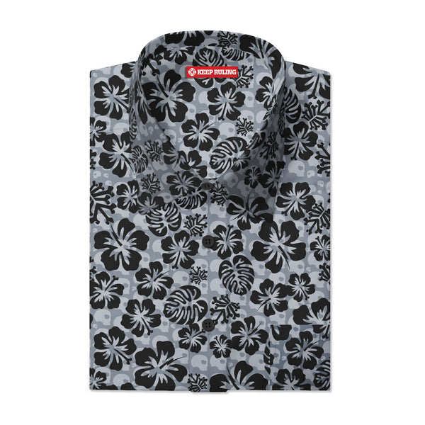 Keep Ruling Hawaiian Button Up Shirt (Gray)