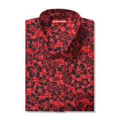 Keep Ruling Hawaiian Button Up Shirt (Red)