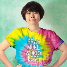 Load image into Gallery viewer, Kerusso Christian Tie Dye T-Shirt Pray More Spiral