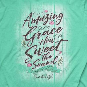 Cherished Girl Womens T-Shirt Amazing Grace Shiplap