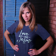 Load image into Gallery viewer, grace & truth Womens V-Neck T-Shirt Love Like Jesus