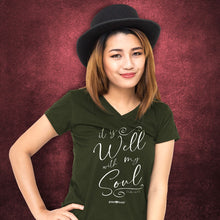 Load image into Gallery viewer, grace & truth Womens V-Neck T-Shirt It Is Well Script