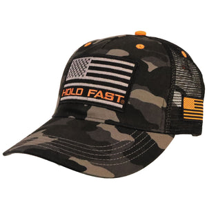HOLD FAST Mens Cap Black And Grey Camo Flag