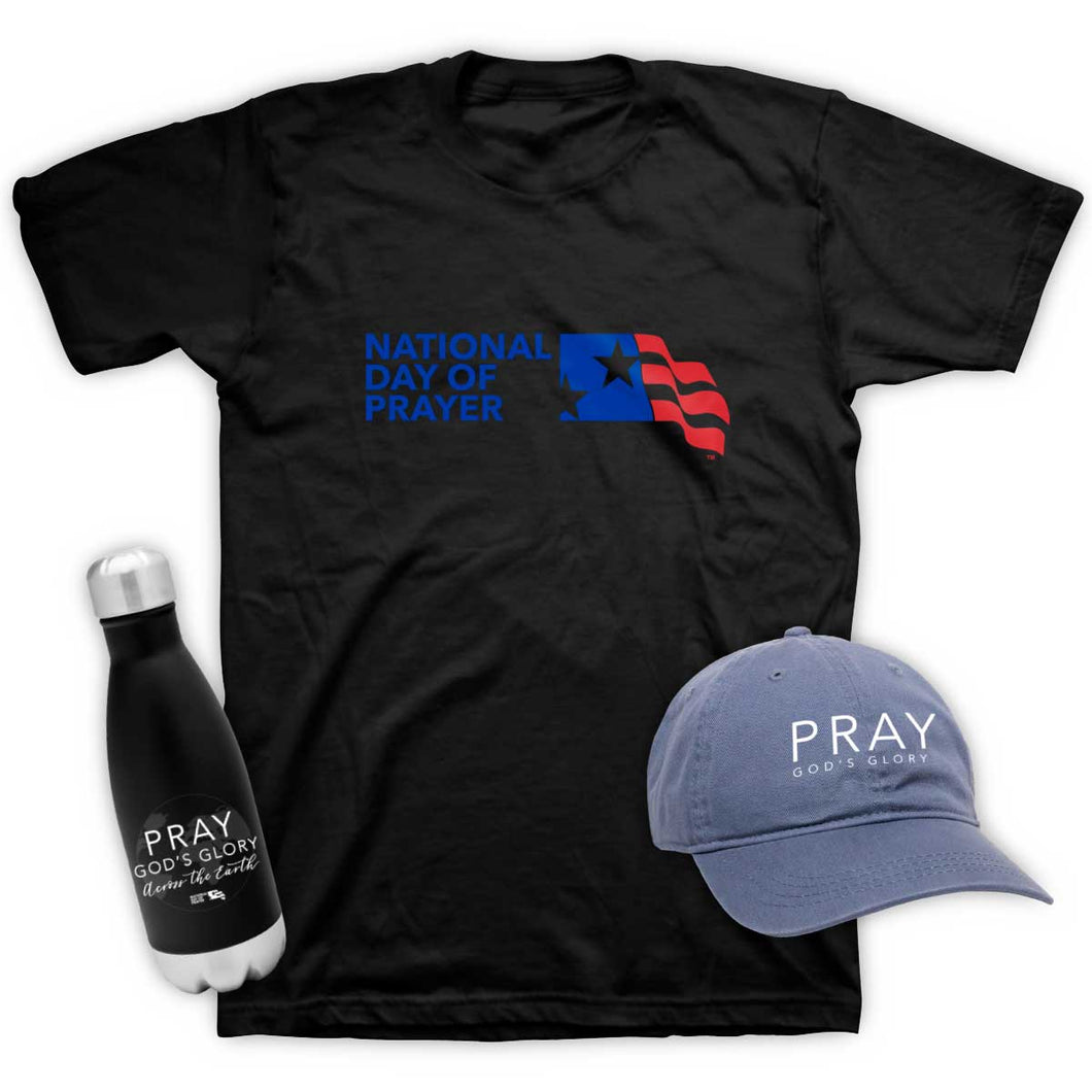 2020 Themed Hat, Water Bottle, and NDP Logo Shirt Combo