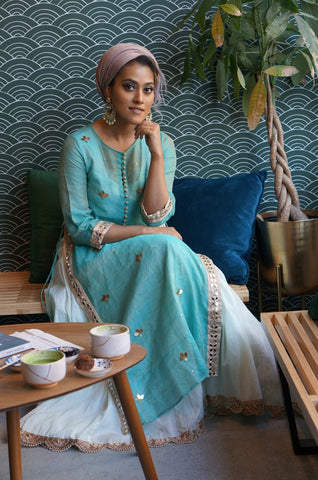 indian fashion blue kurta