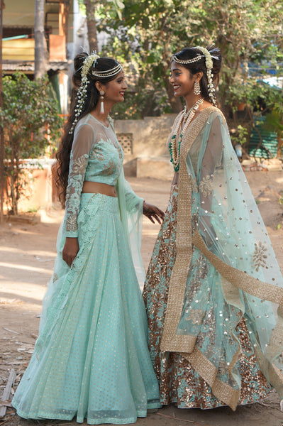 TERRA INDE MINT & SEA BLUE LEHENGA