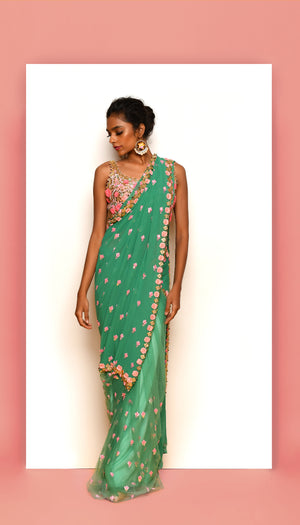 PDP Electric Mint Georgette Tulle Saree
