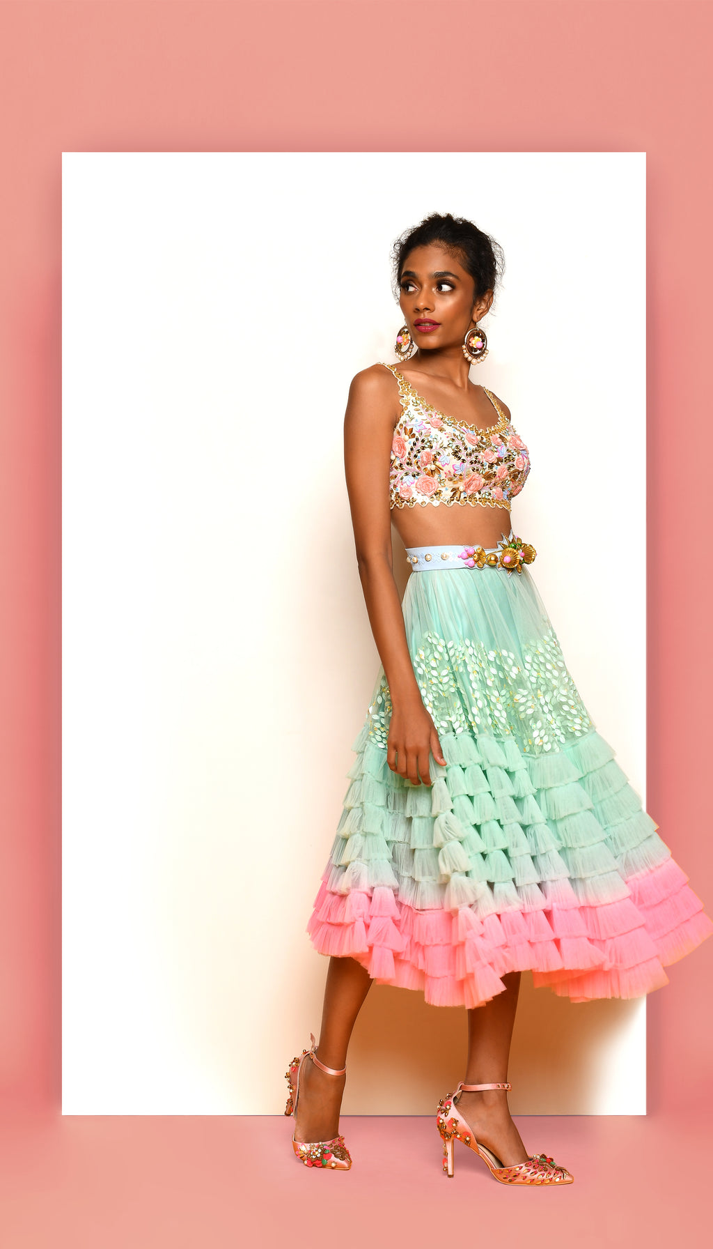PDP Sea Foam Short Lehenga