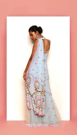 PDP Ice Blue Saree