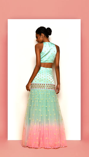 PDP Sea Foam Halter Crop Top &  Saree Silhouette