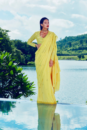 TPK Tuscan Lemon Ruffle Saree