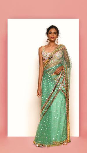 PDP Electric Mint  Tulle Saree