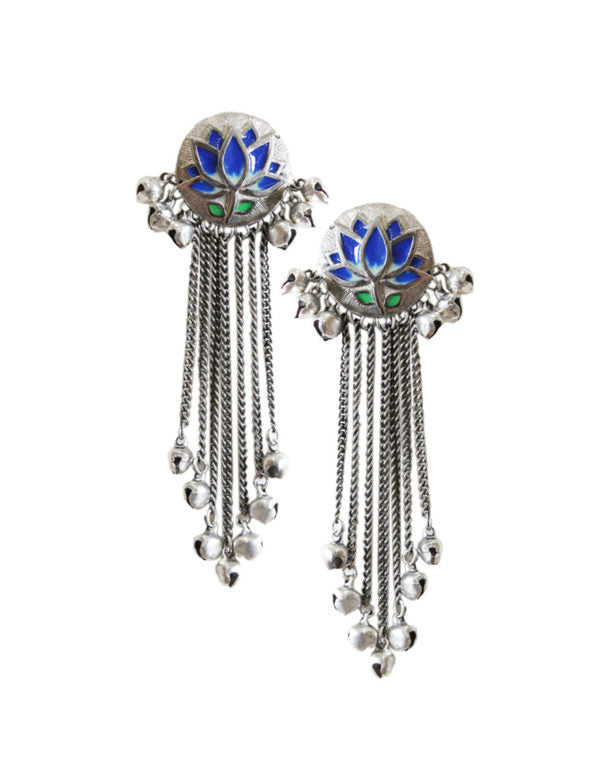 Hyperbole Blue Lotus Tassel Earrings