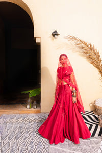 Bohemian Bride Russian Red & Pearl Lehenga
