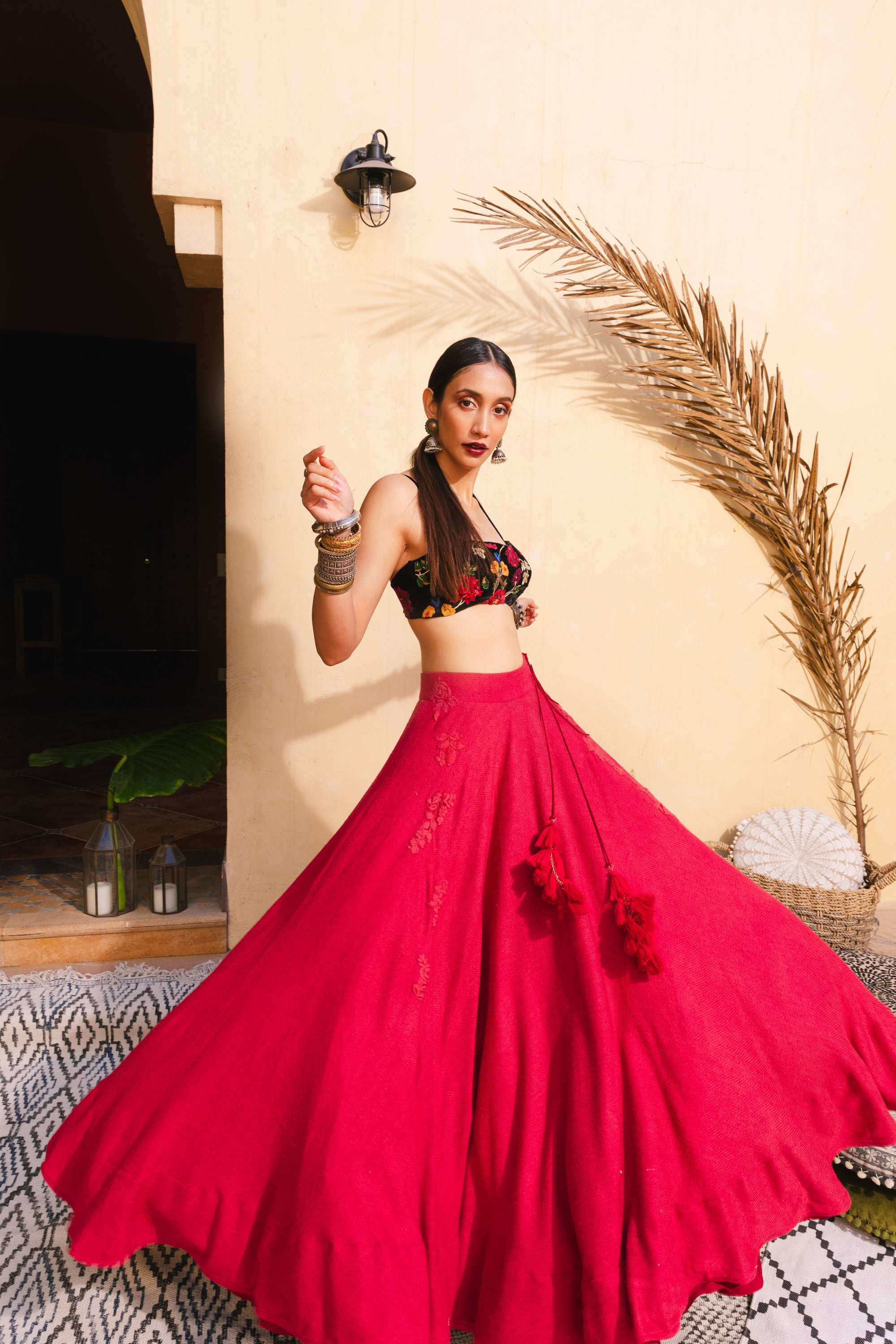 Bohemian Tapestry Russian Red Lehenga