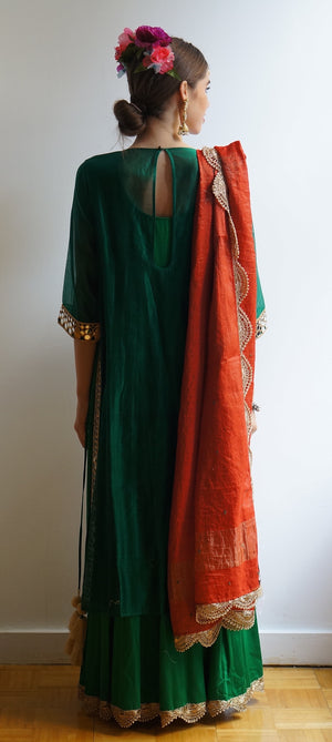 O Layla Emerald & Orange Kurta Lehenga Set