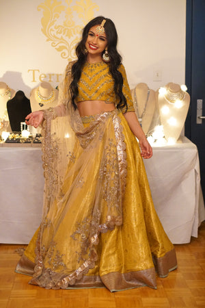 Jayanti Reddy Golden Yellow Brocade Lehenga
