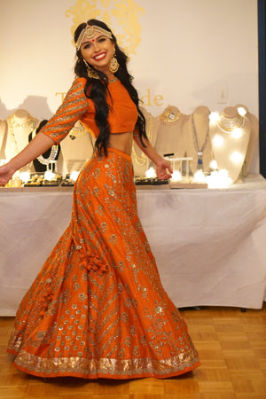 Jayanti Reddy Marigold Orange Lehenga