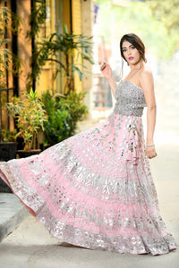 Payal Sethi Pink Lehenga with Crystal Bustier