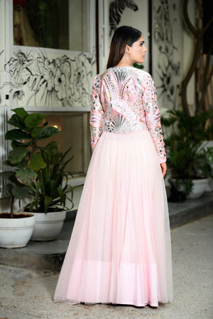 Payal Sethi Pink & Silver Jacket & Lehenga Set