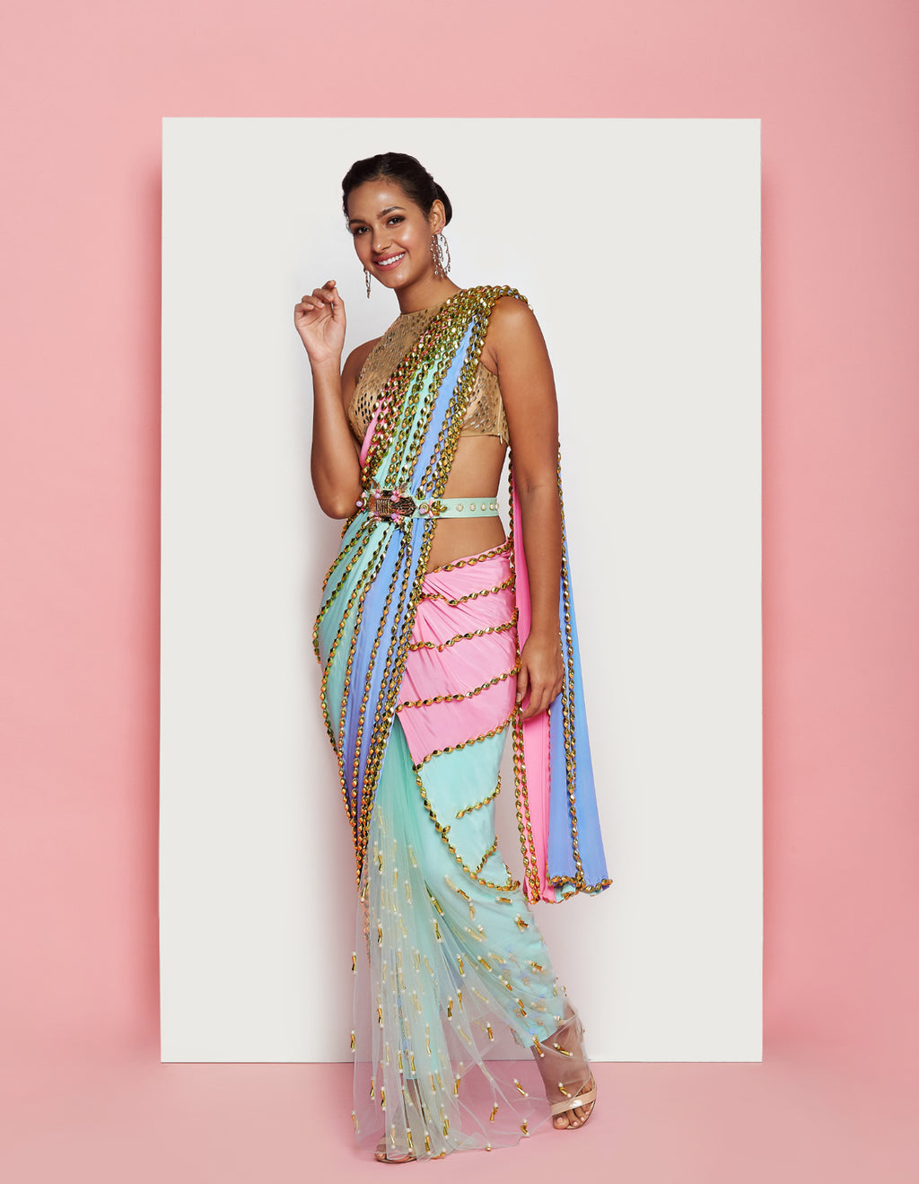 PDP Sea Foam Bubblegum Saree