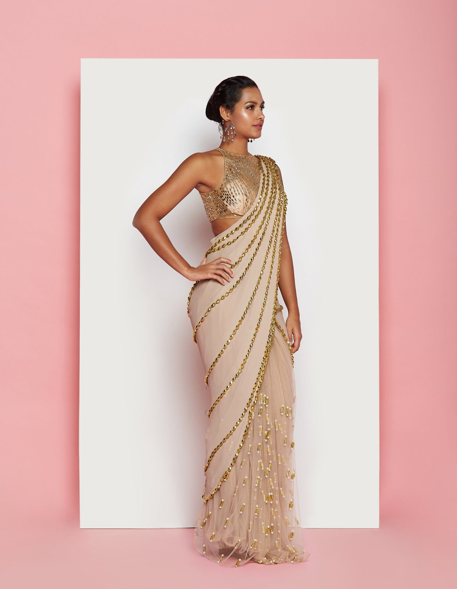 PDP Nude Georgette Tulle Saree