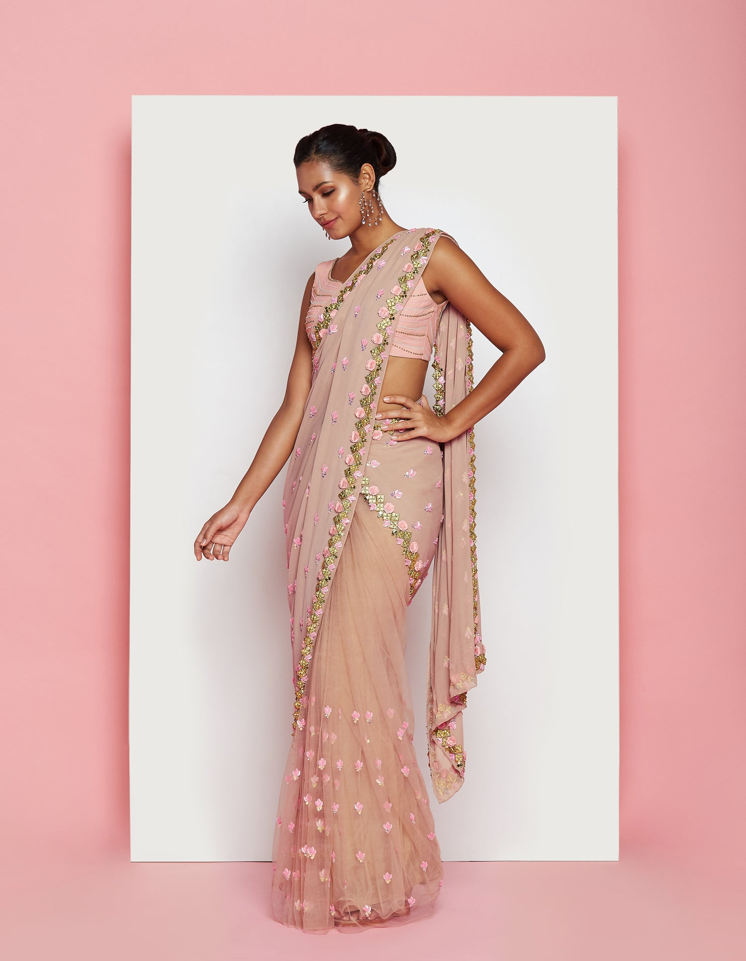 PDP Blush Georgette Tulle Crepe Saree