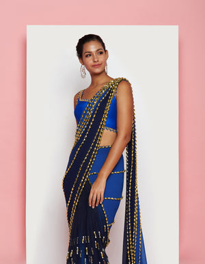 PDP Electric Blue Georgette Tulle Saree