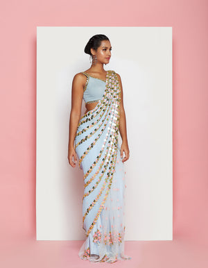 PDP Ice Blue Georgette Tulle Saree