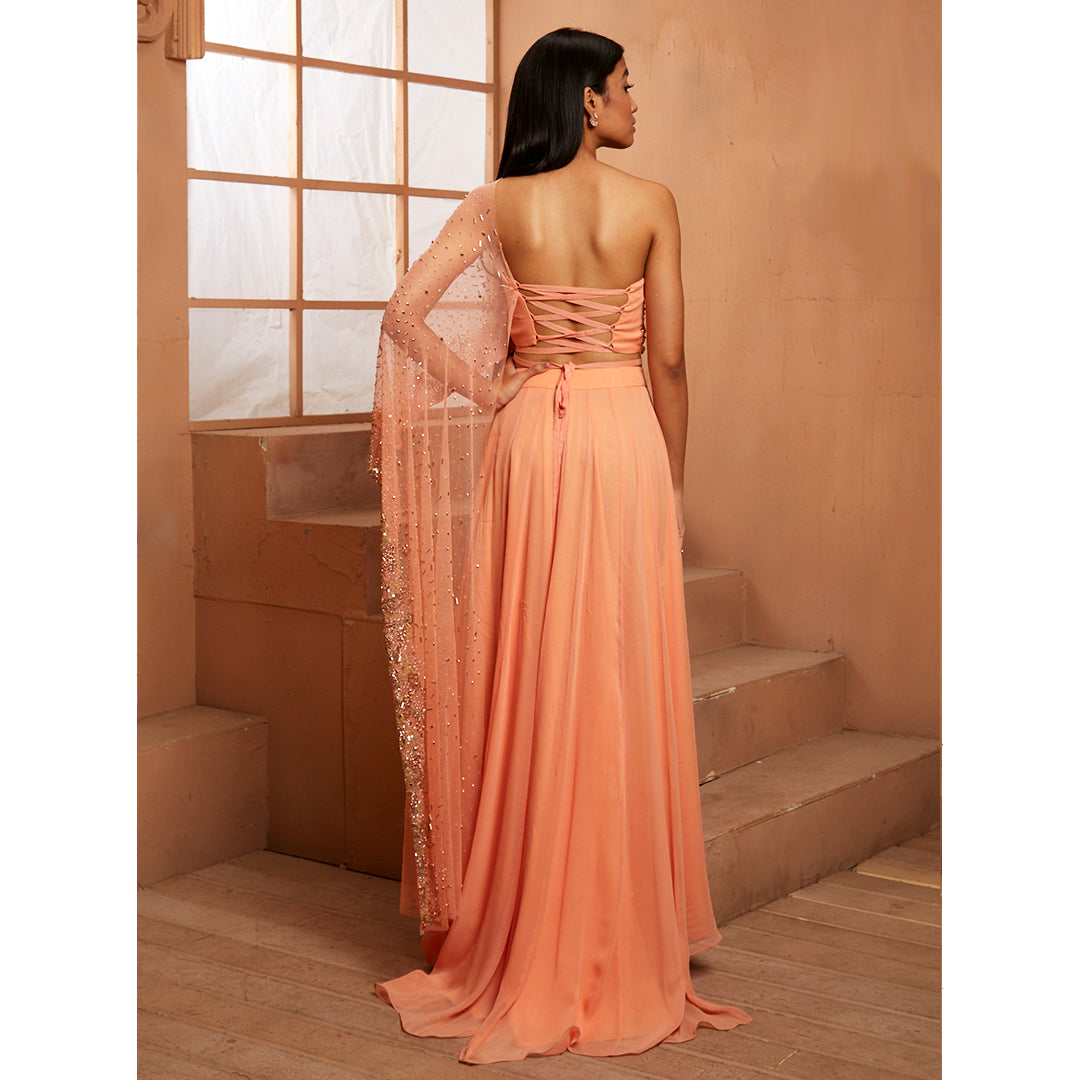 Shloka Khialani Peach Azalea Skirt Set