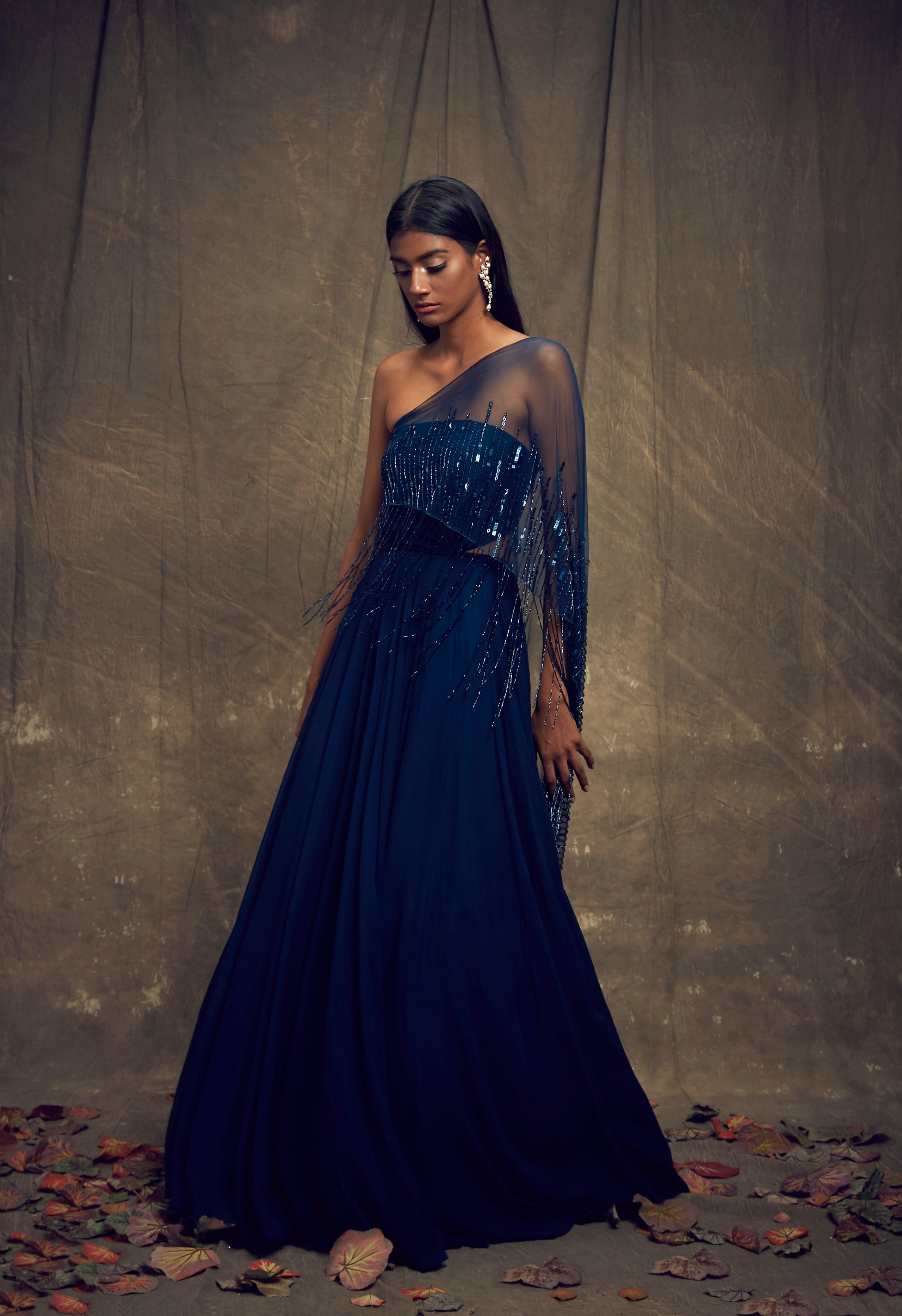 Shloka Khialani Teal Blue Strapless Cut Out Gown