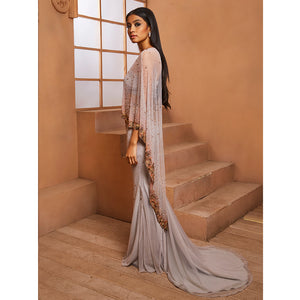 Shloka Khialani Grey Amora Cape Style Gown