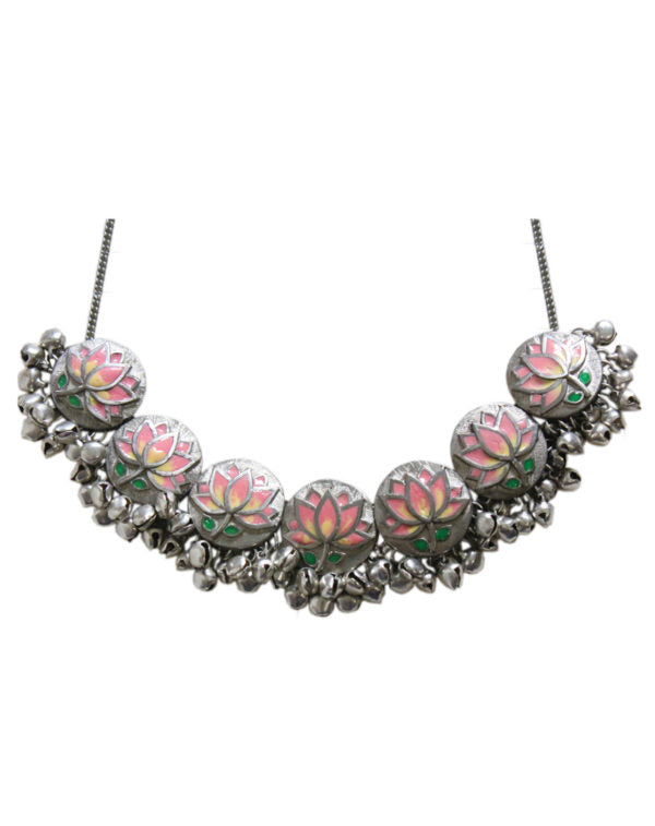 Hyperbole Pink Lotus Enamel Necklace