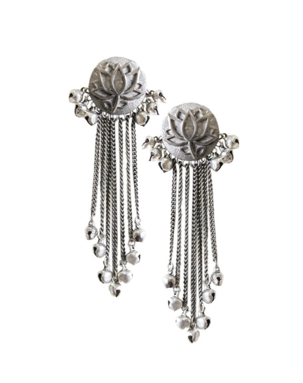 Hyperbole Silver Lotus Tassel Earrings